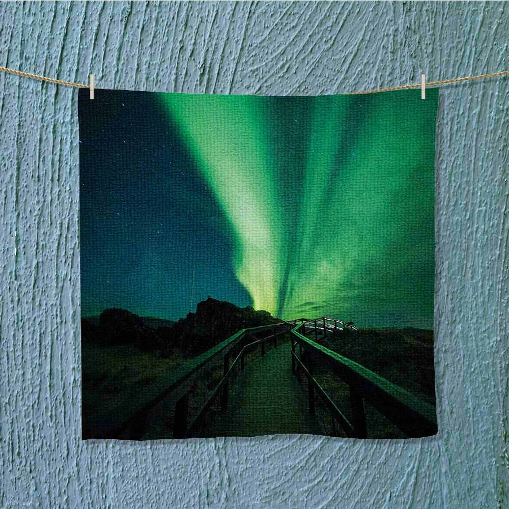 super absorbent towel Wooden Bridge Solar Sky Scenic Radiant Rays Ideal for everyday use W13.8 x W13.8 INCH
