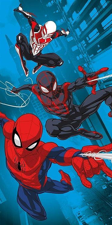 Strand oder Baden perfekt zum Schwimmen Spiderverse-Design super weich mehrfarbig Spiderman Offizielles Marvel Strandtuch 140 x 70 cm