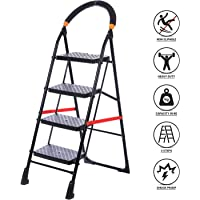 NHR Powder Coated Iron Foldable, Anti Skid, Scratch Resistant Ladder for home and Office Use With Safety Clutch Lock & Knee Guard