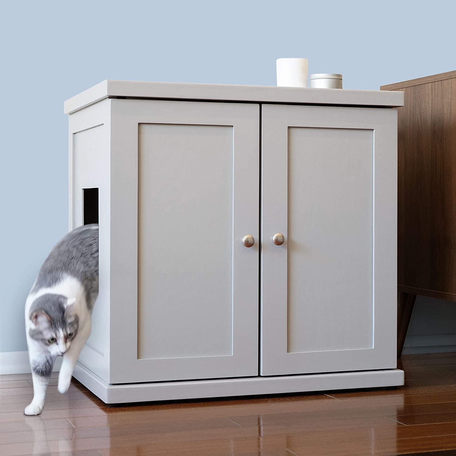 THE REFINED FELINE Cat Litter Box Enclosure Cabinet, Hidden Litter Tray Cat Furniture, Large + XLarge, Modern Style, Smoke Color