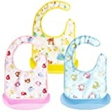 Baby Bibs [3 PACK], PEMOTech Foldable Waterproof Baby Bibs With Detachable Food Catcher ,Easy To Wash and Keep Clean. (Yellow Deer/Blue Monkey/Pink Elephant)