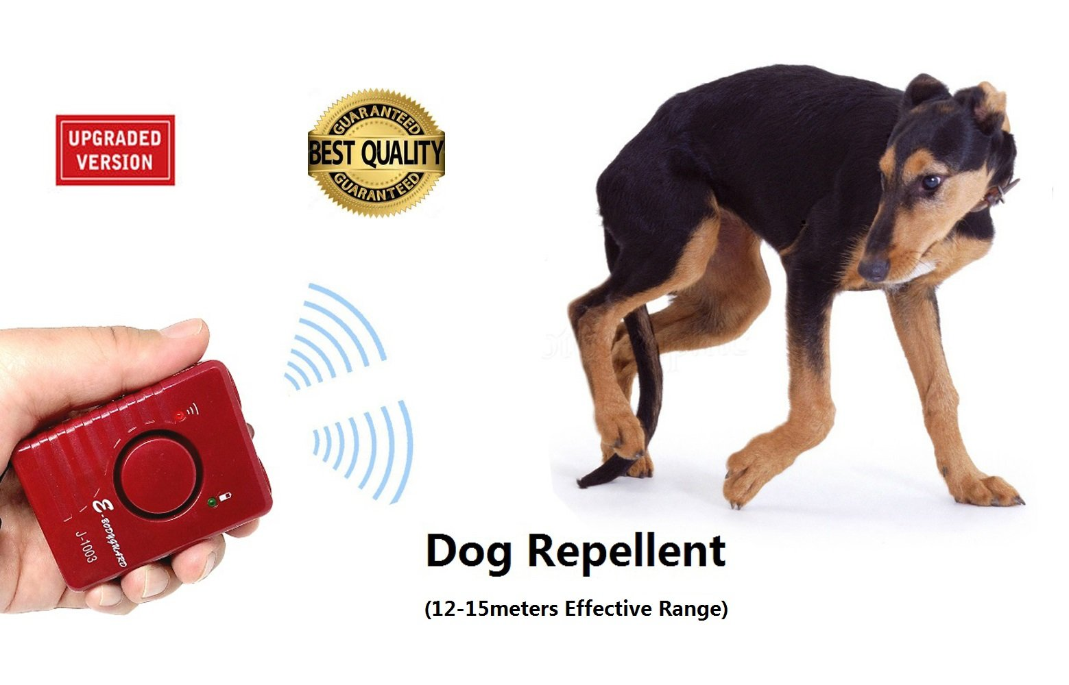 Ultrasonic Dog Repellent Sonic Deterrent Ultrasound Pet Chaser Animal Repeller Training trainer Bark Stop Control Device Rechargeable(Red)