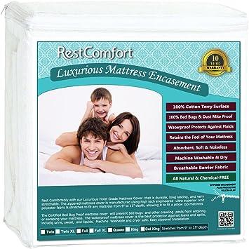 Luxurious Mattress Protector Zippered Encasement Style Terry Cotton Waterproof