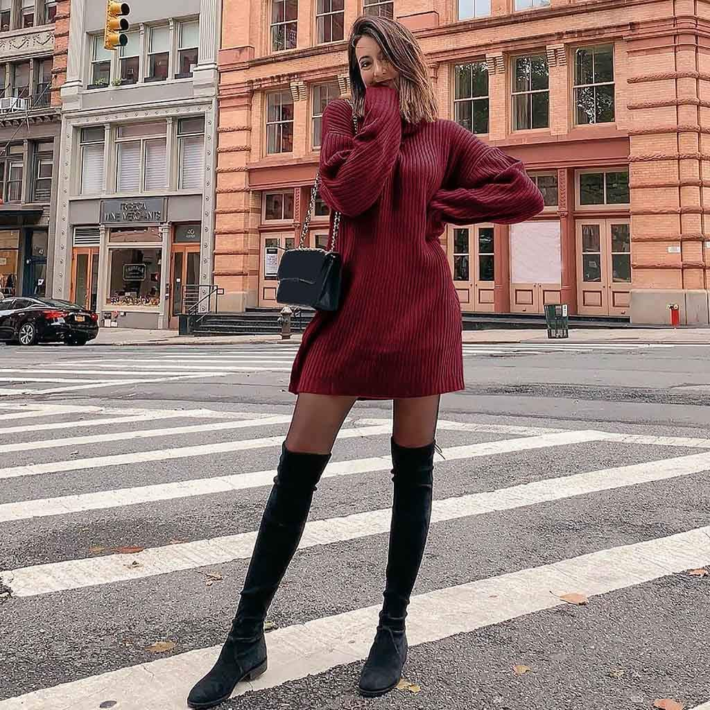 FOANA Robe Femme Pull Grande Taille /à Col Roul/é Et Manches Longues