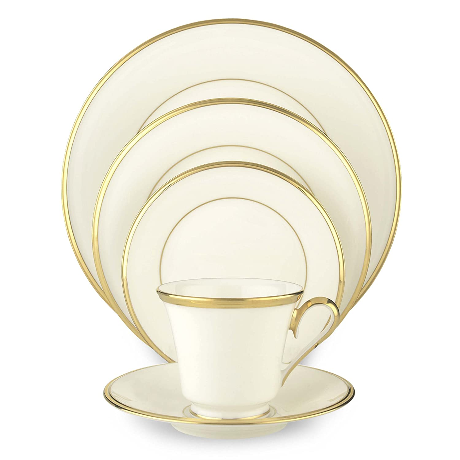 Lenox Eternal White Gold-Banded Fine Bone China 5-Piece Place Setting, Service for 1