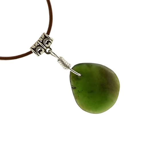 Amazon nephrite jade pendant necklace with leather cord pb24 nephrite jade pendant necklace with leather cord pb24 aloadofball Image collections