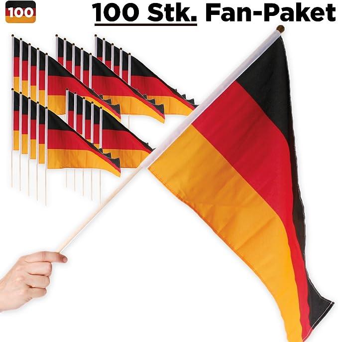 10x Deutschland-Fahne Deutschlandfahne Deutsche Flagge Flag am Stab 45 x 30 cm