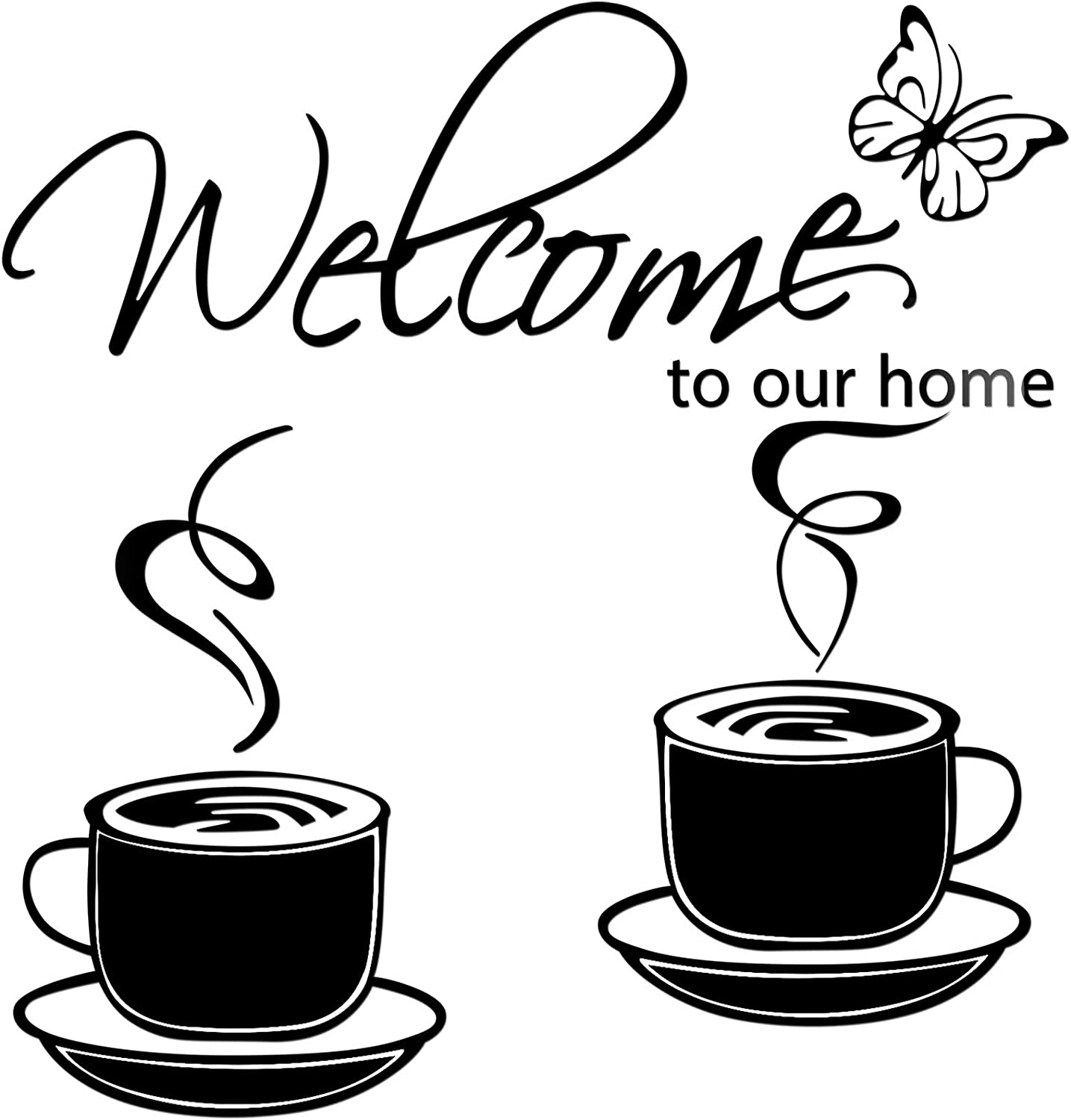 3 Pieces Home Removable Acrylic Mirror Setting Wall Decal Include 1 Welcome to Our Home Wall Sticker 2 Cafe Tea Wall Sticker Coffee Cup Vinyl Decal for Living Room Kitchen Restaurant Decor (Black)