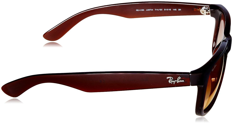 fd8fd2705107 Amazon.com  Ray-Ban Men s Justin Non-Polarized Iridium Rectangular  Sunglasses BROWN 50.6 mm  Clothing