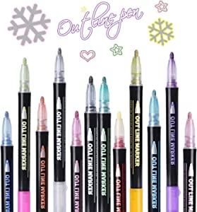 Double Line Metallic Markers,Pecosso Outline Metal Marker Pens,12 Colors Paint Permanent Pen for Writing and Drawing Lines on Paper,Gift Cards,Greeting Cards,Rock Painting,Metal,Wood,Ceramic,Glass