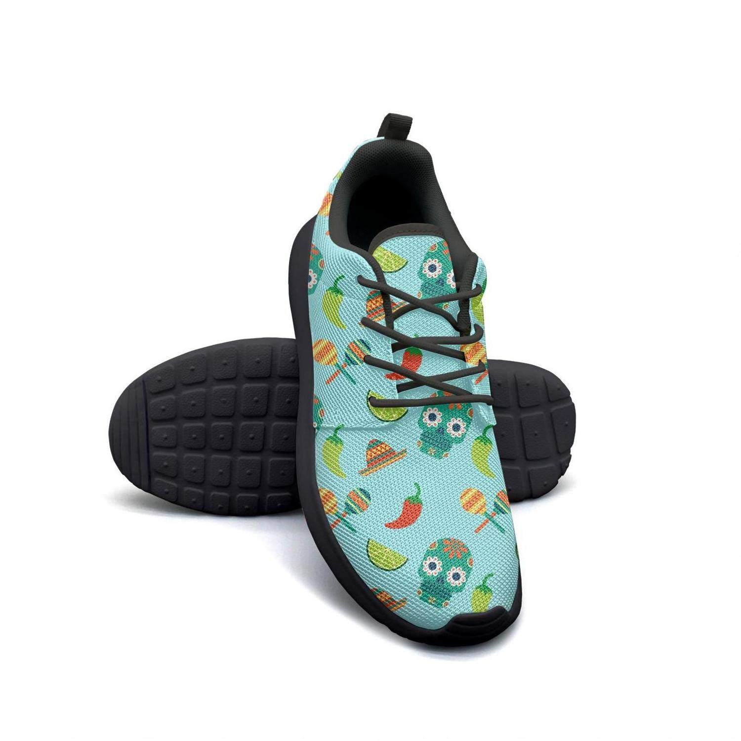Cinco de Mayo Skull Chili Lime Green Lady Canvas Casual Shoes Breathable Basketball Shoes
