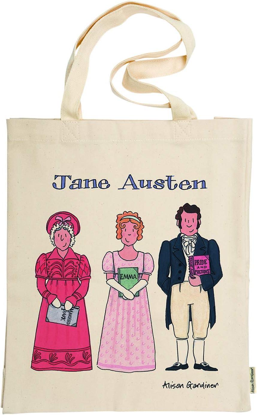 Alison Gardiner Famous Illustrator - Jane Austen - Bolsa de algodón para libros y personajes conmemorativos, 100% algodón, calidad premium y detalles: Amazon.es: Hogar