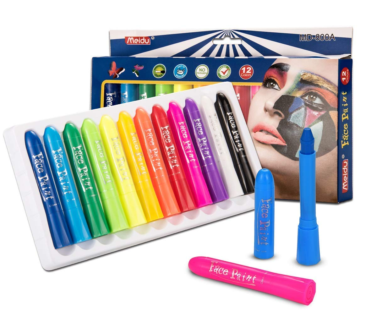 Face Paint with 12 Colors, Yiomxhi Kids Face Painting, Non Toxic Body Paint, Washable Face Paint Crayons, Cosplay Makeup for Halloween, Costumes, Birthday Parties and Parade