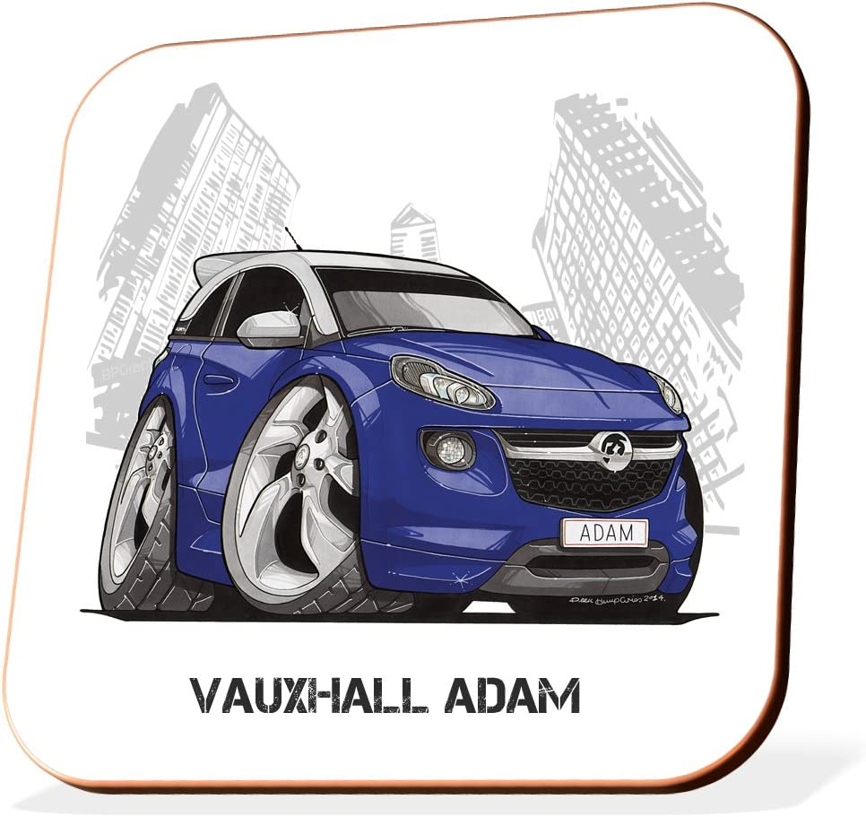 Caricature blue Vauxhall Wooden Coaster Gift Koolart Gifts K3218-CS Cartoon of Vauxhall Adam Coasters