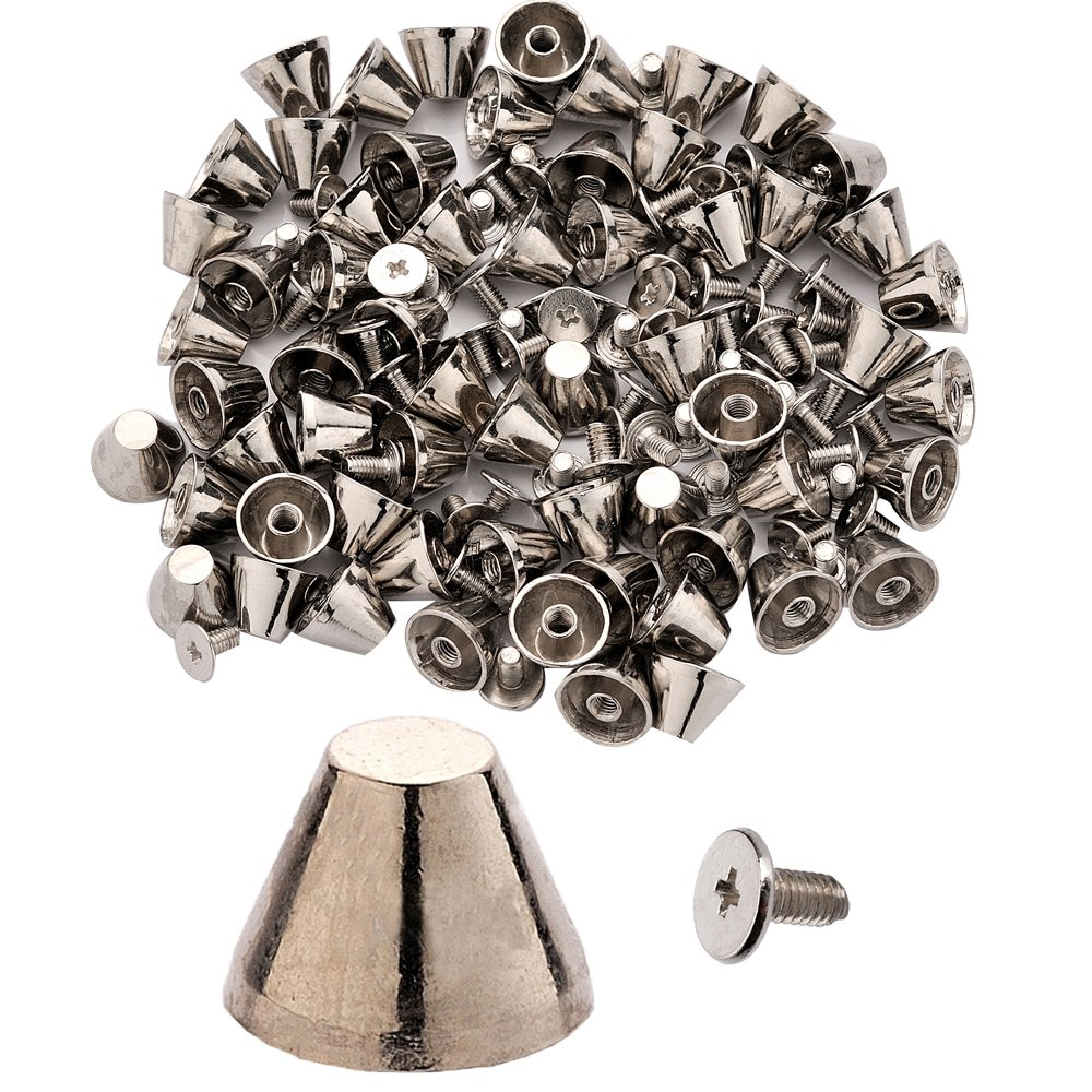 100pcs Cone Spikes Screwback Studs DIY Craft Cool Rivets Punk Stud Truncated Cone Style 11x8mm 1/2