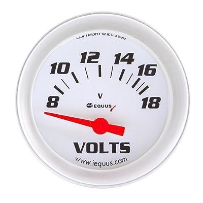 """Equus 8468 2-5/8"""" Voltmeter, White with Aluminum Bezel: Automotive"""