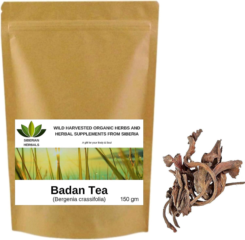 Wild Harvested Organic Badan Tea Bergenia crassifolia ?????? ????, Siberian Tea, Mongolian Tea from Altai Mountains, Siberia, Russia. (150 gm)