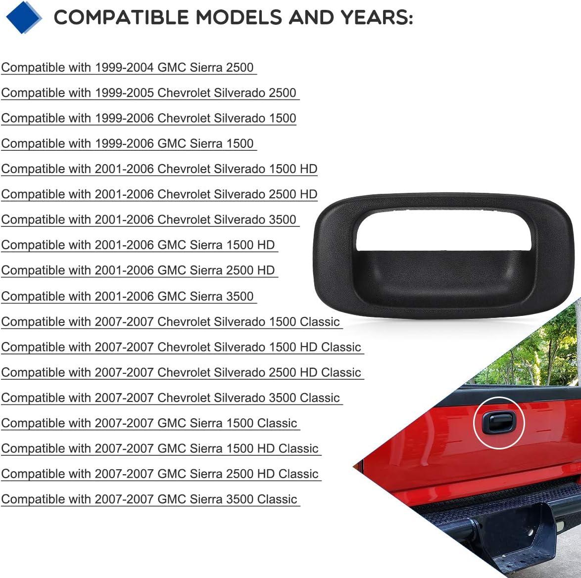 YITAMOTOR Textured Black Tailgate Bezel Trim Compatible with 99-07 Chevy Silverado GMC Sierra 1500 2500 3500 HD Classic Tailgate Bezel Compatible for Chevy Silverado