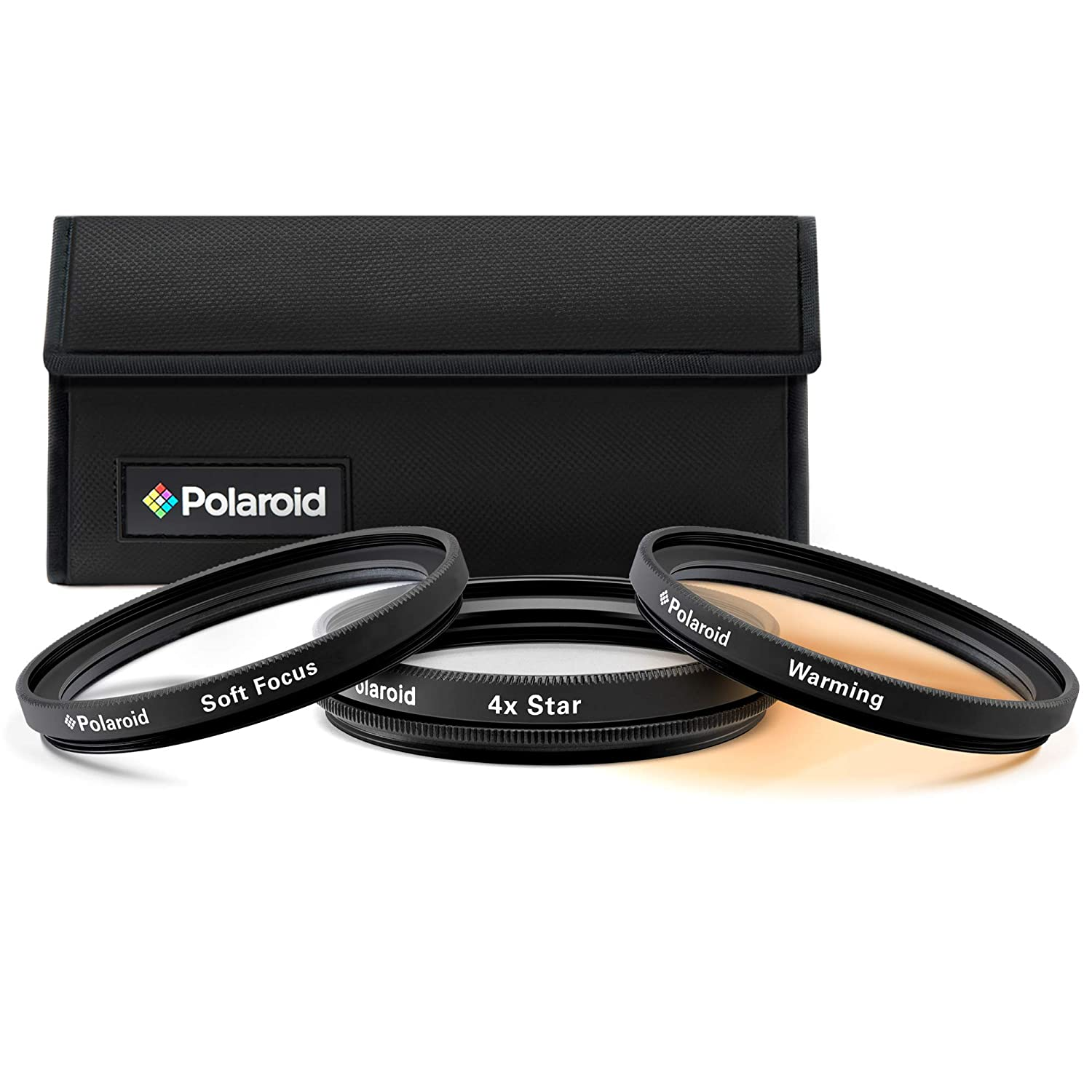Polaroid Optics 72mm 3 Piece Special Effect Camera/Camcorder Lens Filter Kit (Soft Focus, Revolving 4 Point Star, Warming) PLFIL3FX72