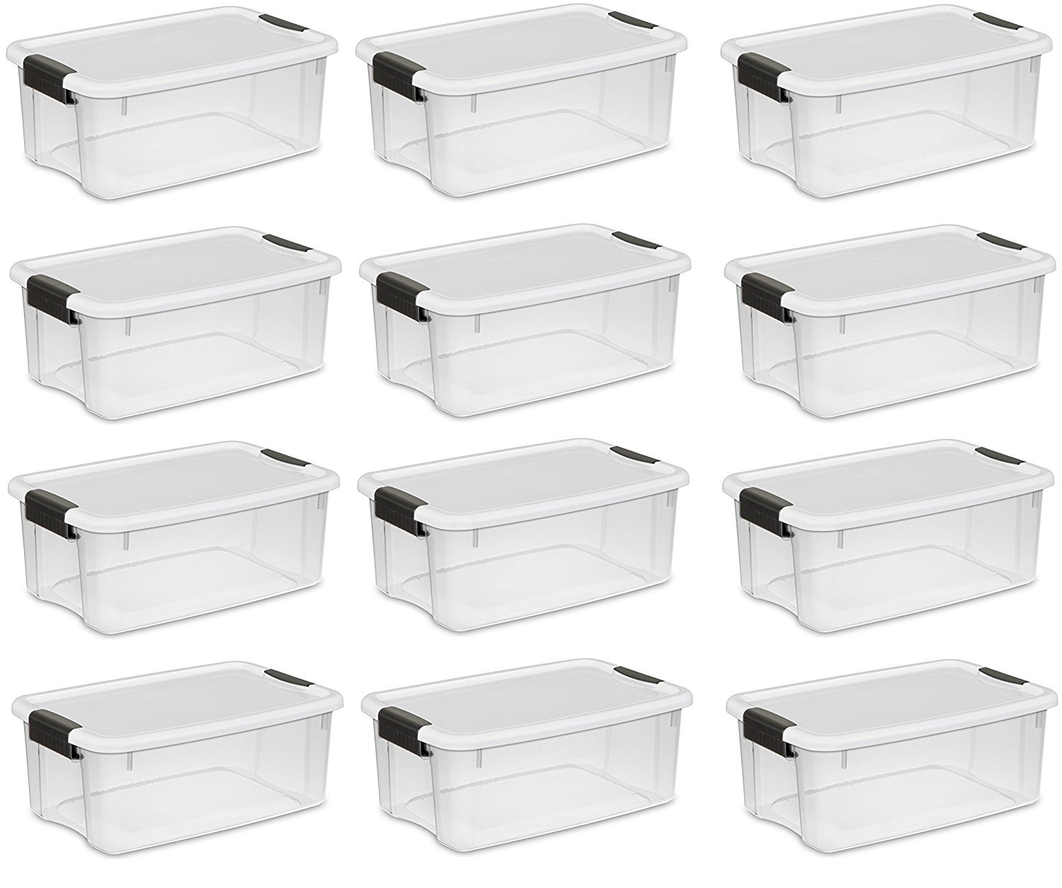 Sterilite 18 Quart/17 Liter Ultra Latch Box, Clear with a White Lid and Black Latches, (12-Pack)