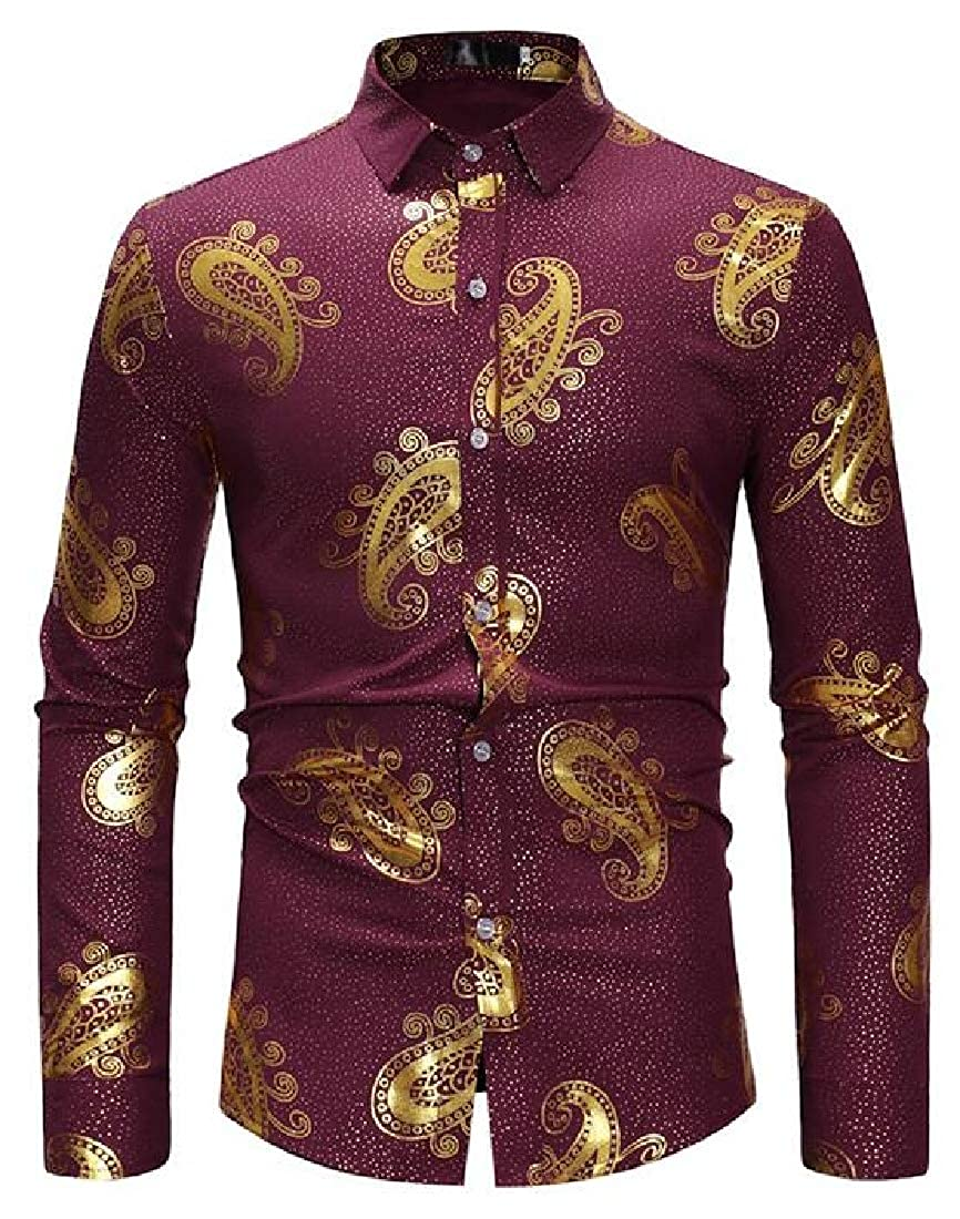 Spirio Mens Casual Shirts Button Up Printing Loose Long Sleeve Dress Shirts