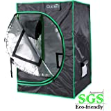 "Quictent SGS Approved Eco-friendly 24""x24""x36"" Reflective Mylar Hydroponic Grow Tent with Obeservation Window and waterproof Floor Tray for Indoor Plant Growing 2'x2'"