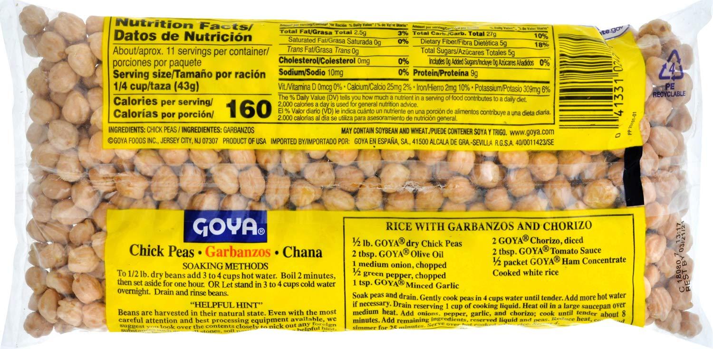 Amazon Com Goya Chick Peas 1 Pound Dried Garbanzo Beans Grocery Gourmet Food