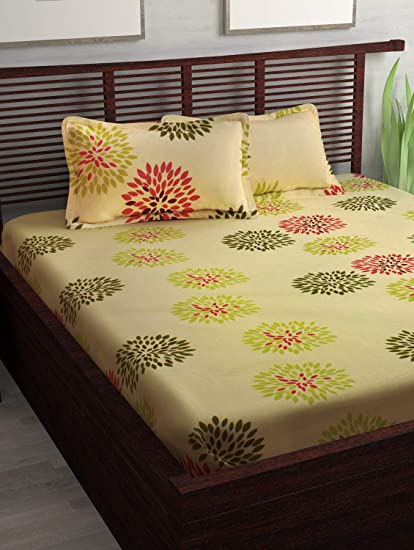 Story@Home Majestic 152TC Cotton Double Bedsheet with 2 Pillow Cover - Floral, Queen Size, Cream