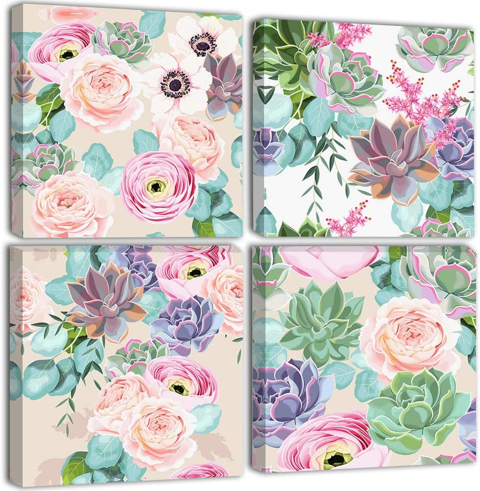 Pink Flower Painting Wall Art - Canvas Print Rose Decor for Teen Girls Bedroom Living Room Woman Room Blessed Colorful Hanging Picture Decoration Home Poster Artwork 4 Piece 12x12 Inch