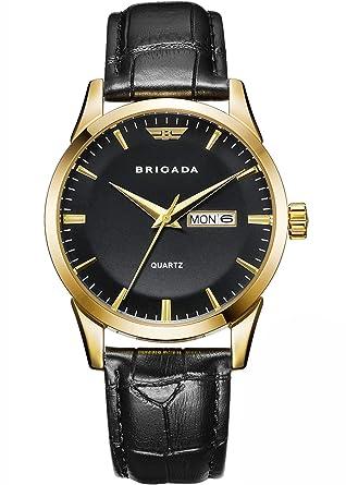 9e310c1f9 BRIGADA Swiss Brand Classic Gold Black Dress Watches for Men with Date Date  Calendar, Business