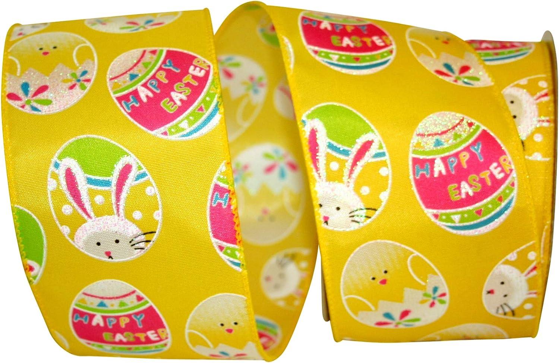 Reliant Ribbon 92869W-079-40F Easter Egg Fun Wired Edge Ribbon Yellow