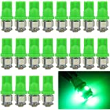 EverBright 20-Pack Green T10 194 168 2825 W5W 5050 5-SMD LED Bulb For Car Replacement Interior Lights Clearance Wedge Dome Trunk Dashboard Bulb License Plate Light Lamp DC 12V