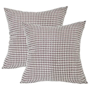 LINENLUX 2 Pack Corduroy Soft Soild Decorative Square Throw Pillow Covers Set Cushion Case for Sofa Bedroom Car (Sliver Grey, 18 x 18 Inch)
