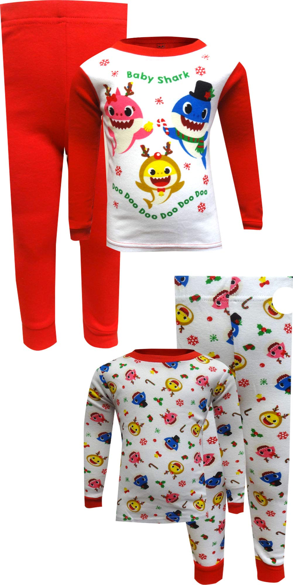 Baby Shark Boys' Toddler 4-Piece Cotton Pajama Set, Holiday Sharks, 2T by Baby Shark