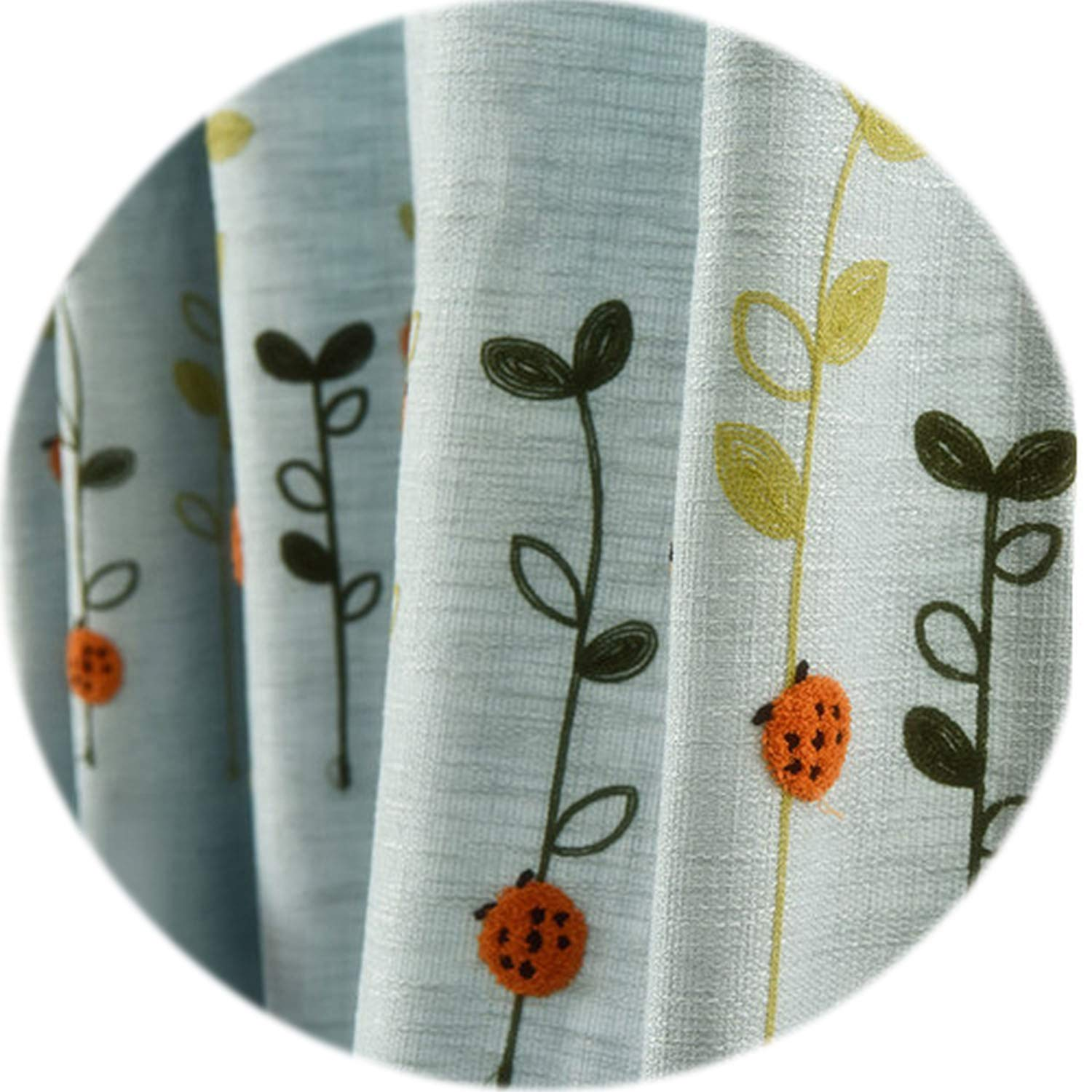 No Buy No Bye Embroidered Curtains Kid Room Girl Bedroom Blue Beige Curtains Drape Floral Design Short Window for Bedroom Kid Curtain,Blue Thick,W400cm L250cm,1 Rod Pocket
