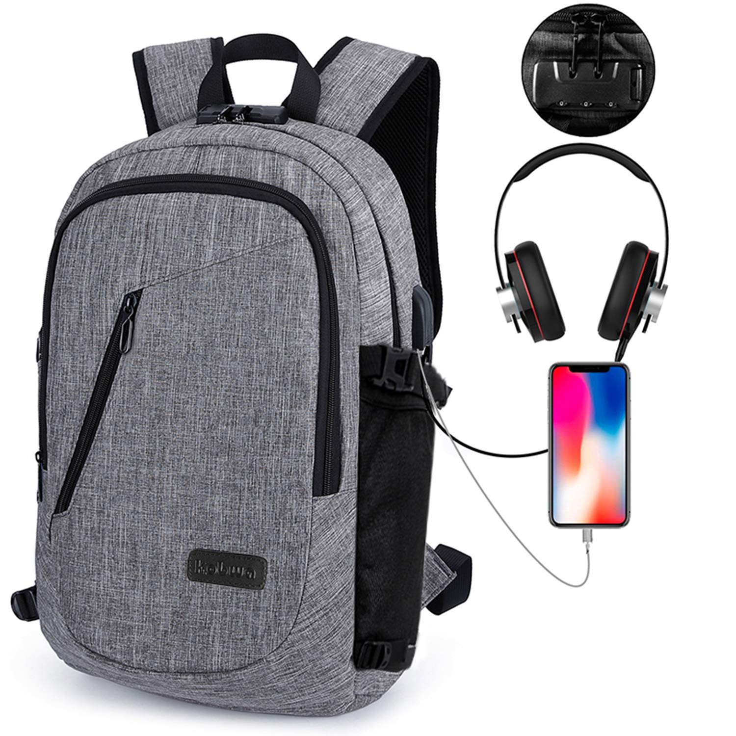 Laptop Backpack, Kobwa Anti-theft Business Slim Computer Bag With USB Charging Port and Headphone Port For Women and Men, Fits Up to 15.6 Inch Laptop Notebook and Tablet IPad (Grey) 6025779654012
