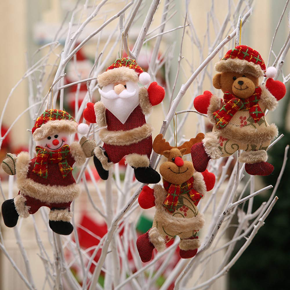 Kimanli Christmas Santa Claus Snowman Reindeer Toy Doll Party Ornaments Christmas Tree Hanging Decor Gifts Hot ! (4Pcs)