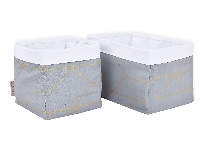 Aufbewahrungskorb f/ür Kinderzimmer KraftKids Stoff-K/örbchen in goldene Linien auf Grau Aufbewahrungsbox f/ürs Bad Gr/ö/ße 20 x 20 x 20 cm