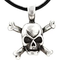 Pewter Skull and Crossbones Pirate Pendant on Leather Necklace