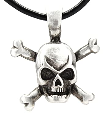 Pewter skull and crossbones pirate pendant on leather necklace pewter skull and crossbones pirate pendant on leather necklace amazon aloadofball Gallery