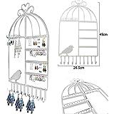 Aution House-Class-Organizer per gioielli, con ganci, da appendere a parete a forma di gabbia per uccellini con supporto per orecchini, gioielleria, collana con supporto per Display Bianco