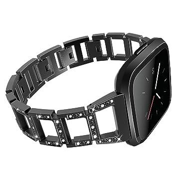 Amazon.com: Fitbit Versa Brazalete plateado, correa de metal ...