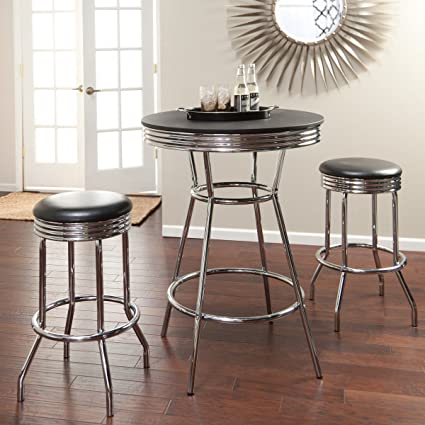 retro style furniture. Roundhill Furniture Retro Style 3-Piece Chrome Metal Bar Table And Stools Retro Style Furniture A