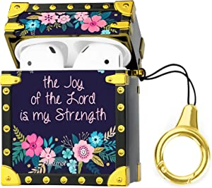 ZIYE Compatible with Apple Airpods Square Case with Carabiner Cute Floral Bible Verse Hard Cover for Women Girls Protective Case with Keychain Design for Airpods 1 & 2 Flower