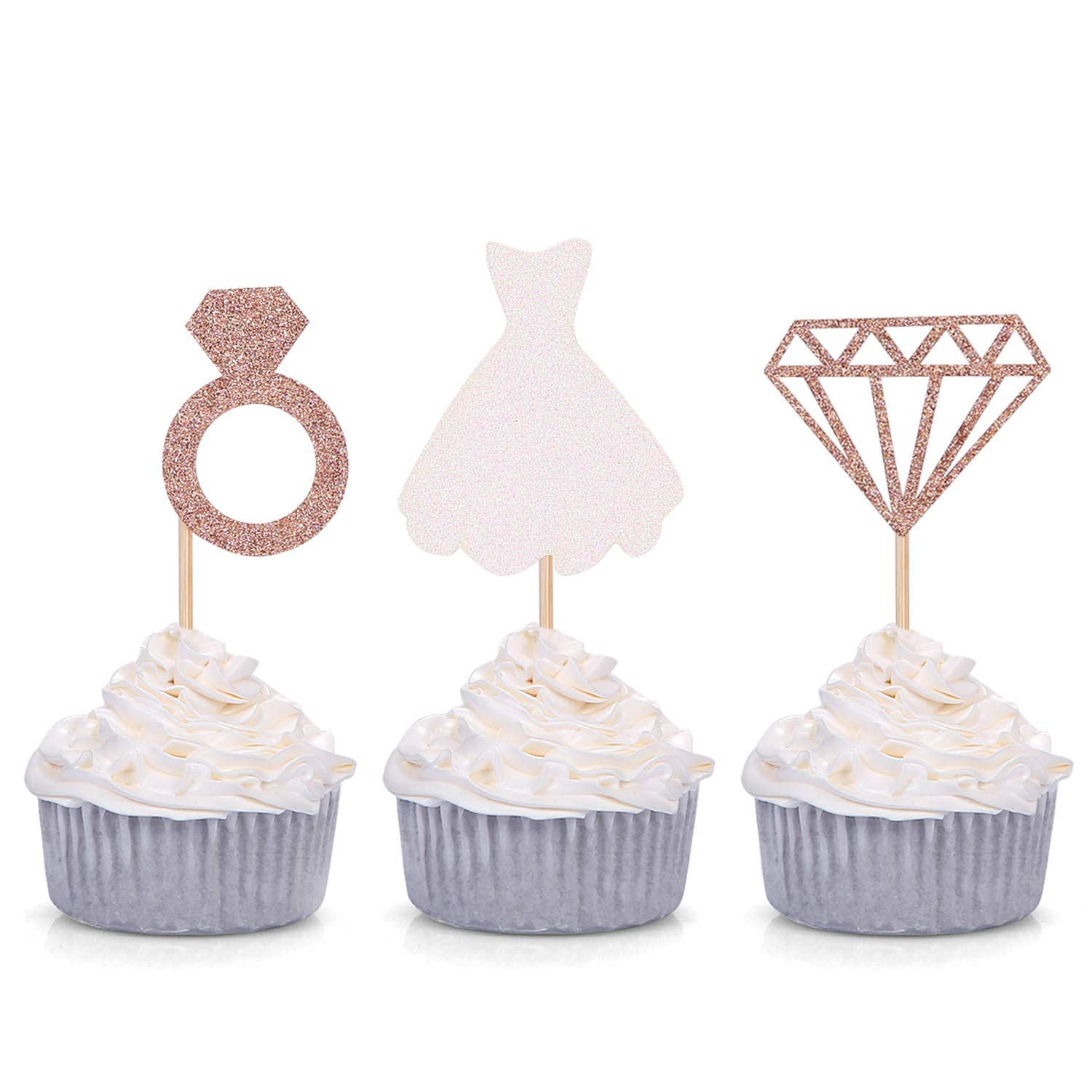 Set of 24 Glitter Damond Ring Wedding Dress Cupcake Toppers for Engagement Bridal Shower Decorations