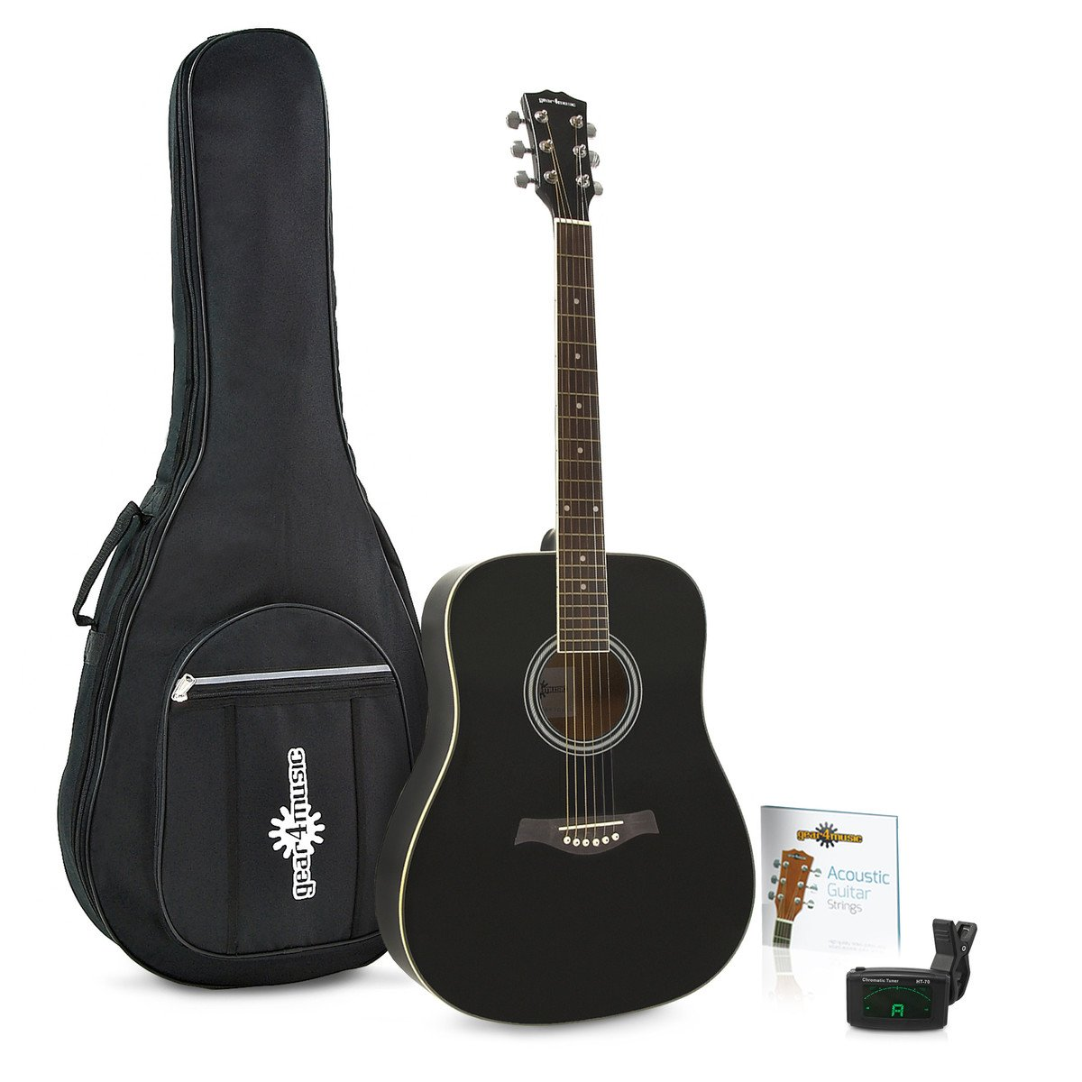 Guitarra Acú stica Dreadnought de Gear4music + Pack de Accesorios Negro
