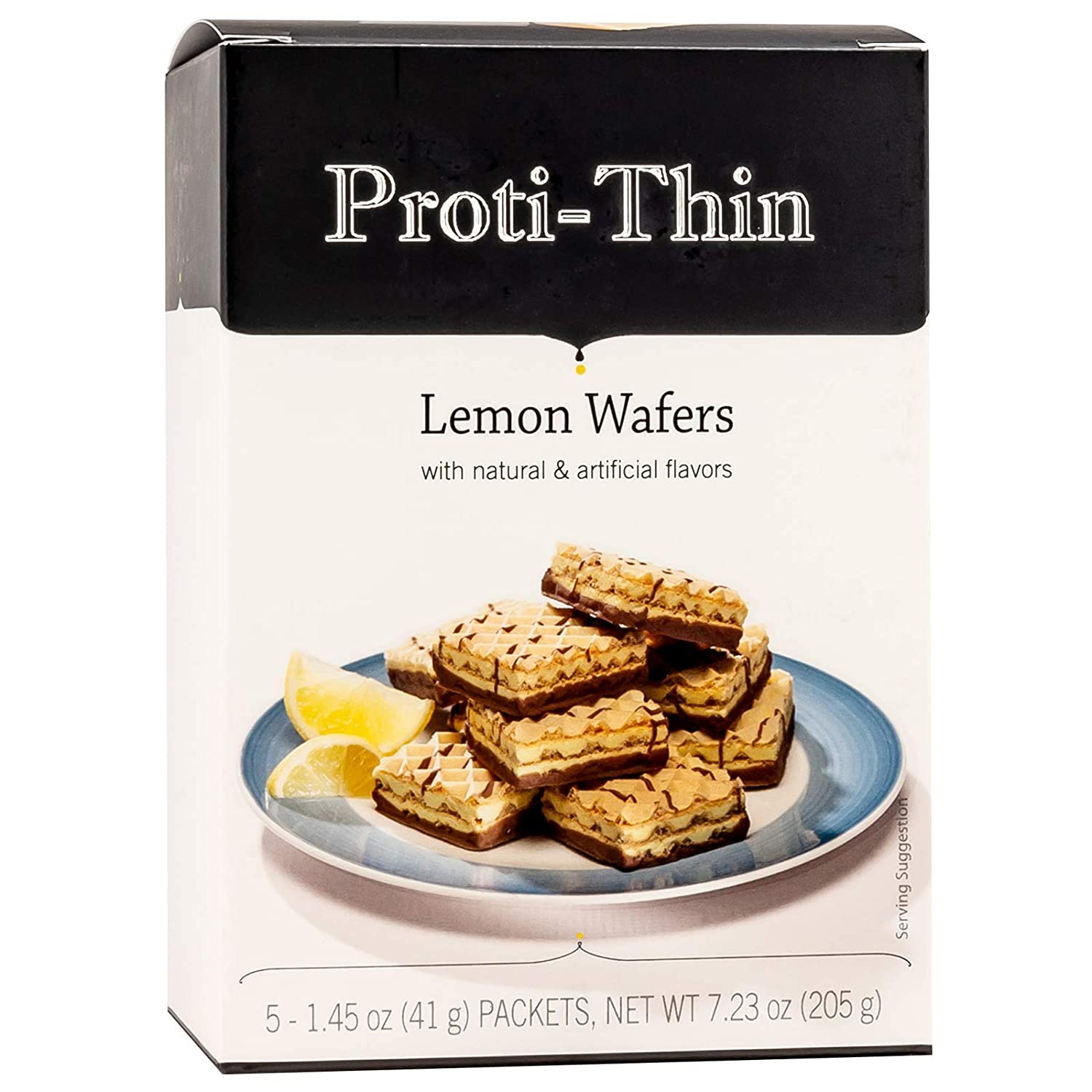 Proti-Thin High Protein Lemon Wafer Squares, Low Sugar, Low Carb, Aspartame Free, Diet Wafer Bars, Healthy Snack, 5 Servings, 2 Wafers per Serving