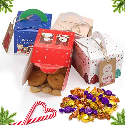 Christmas Cookies Box.Christmas Cookies Gift Boxes 16 Pack Christmas Treat Boxes Cute Box Candy Boxes Christmas Party Gift Boxes Holiday Gift Wrap Cookies Gift Box With