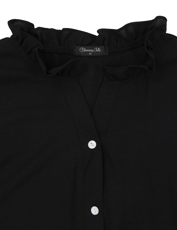 BMJL Women\'s Casual Button Down Shirt V Neck T Shirt Work Blouse Plus Size Tunic Tops(M,Black)