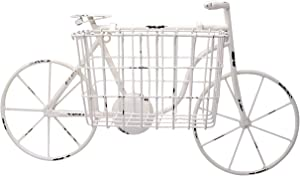 Distressed White Painted Tin Bike with Basket Planter, Wall Décor, 22 Inches